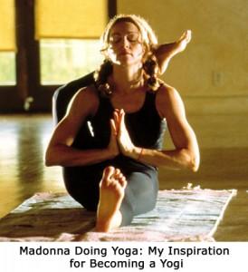 Madonna doing yoga